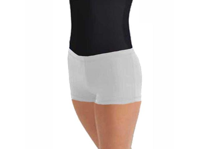 White Solid Color Microfiber Booty Shorts
