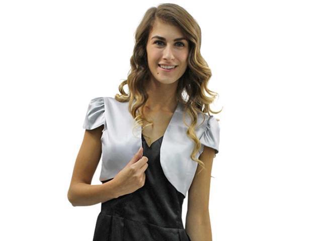 Silver Short Sleeve Satin Bolero Shrug Jacket