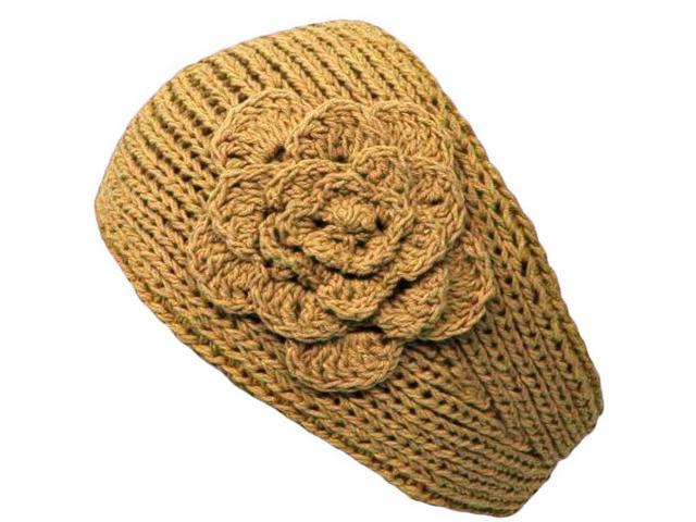 Khaki Knit Hand Made Headband With Flower Detail