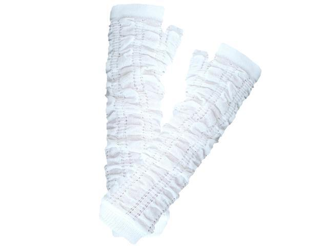 White Soft Knit Scrunched Arm Warmers
