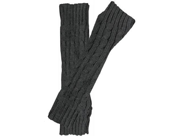 Black Classic Cable Knit Glove Arm Warmers