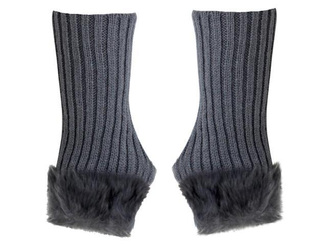 Gray Ribbed Knit Fingerless Gloves With Fur Trim