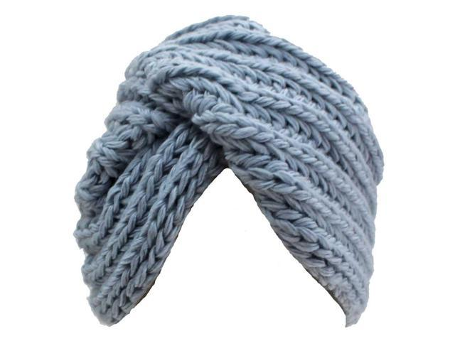 Blue Chunky Knit Beanie Turban Cap Hat