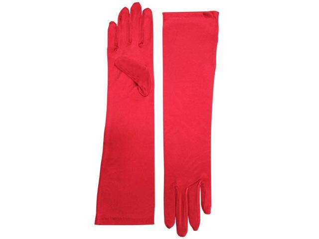 Red Elbow Length Formal Bridal Gloves