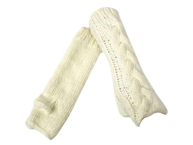 Ivory Thick Cable Knit Arm Warmer Gloves