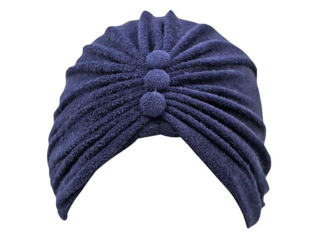 Navy Blue Reversible Terry Cloth Turban Hat Bathing Cap