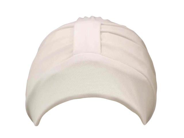 White Adjustable Polyester Latex Lined Turban Cap Hat