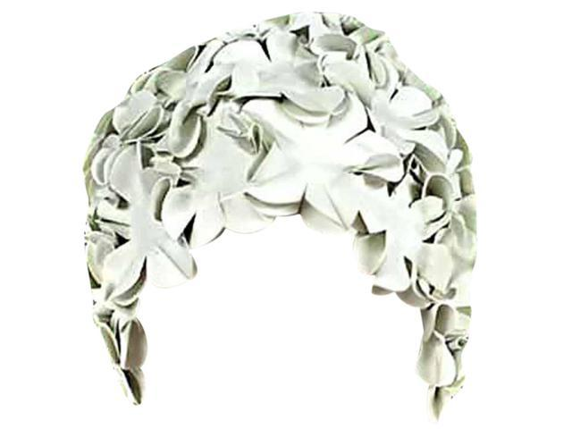 Ivory Latex Bathing Cap With Petals