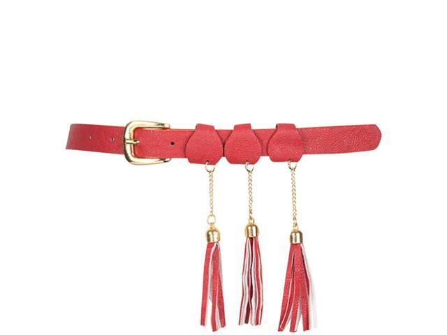 Red Fancy Triple Hanging Tassel Skinny Belt