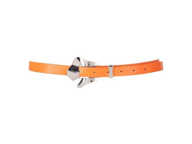 Orange Thin Casual Belt With Scalloped Buckle