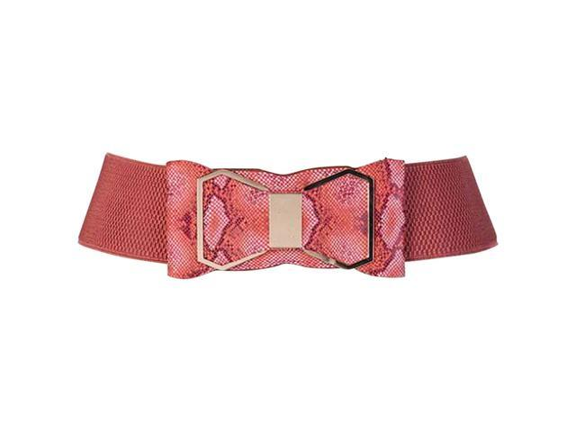 Red Snake Print Wide Cinch Belt With Bow