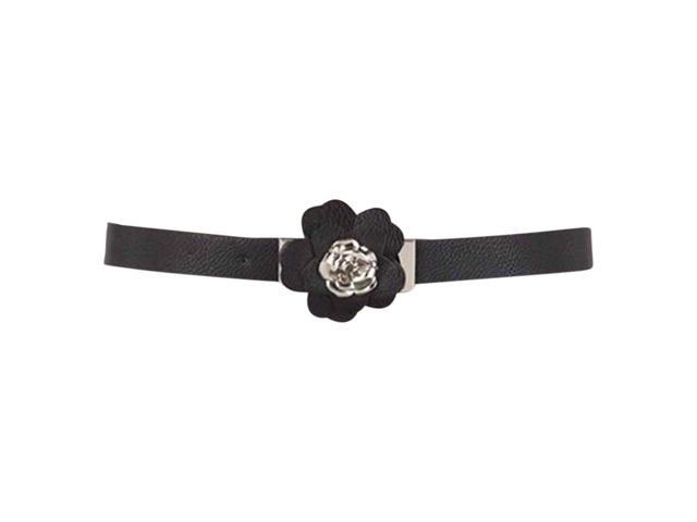 Black Thin Belt With Rosette Petal Buckle