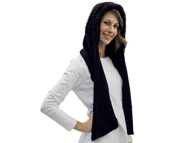 Black Faux Fur Cloche Hood Cowl Scarf Hat