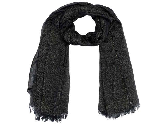 Navy Blue Shimmery Metallic Long Woven Scarf