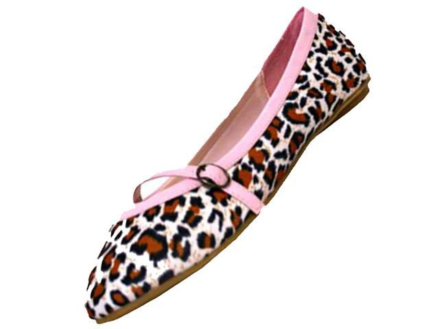 Pink Leopard Print Ballet Flat Shoes With Bow