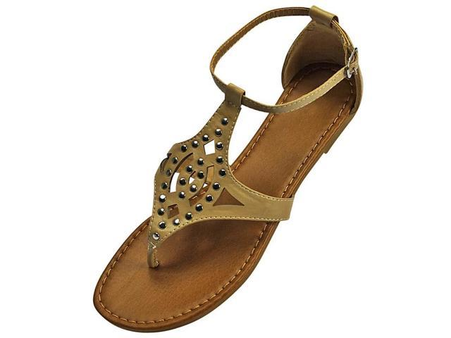 Beige Ankle Strap Studded Thong Sandals