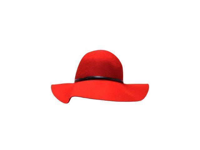 "Red Wool Felt 3"" Wide Brim Floppy Hat"
