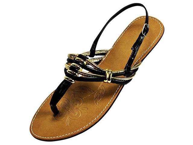 Black & Gold Strappy Thong Ladies Flat Sandals