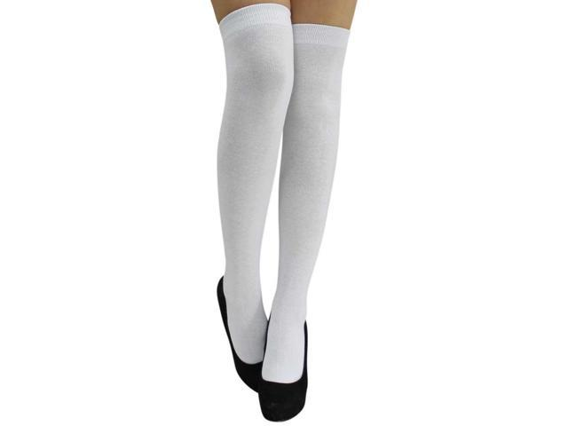 White Over The Knee Knitted Socks