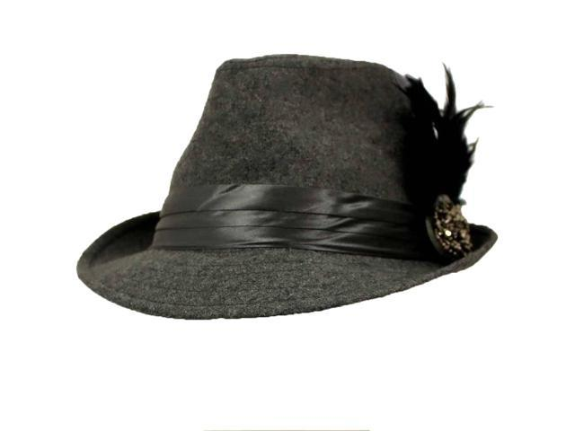 Grey Fedora Hat With Feathered Broach