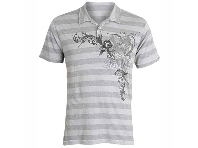 Two Tone Gray Striped Men's Polo With Graphic Print