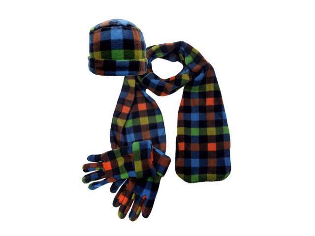 Plaid Fleece 3 Piece Hat Scarf & Glove Set