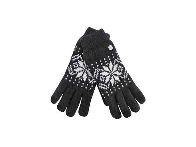 Black Thermal Insulated Men's Snowflake Gloves