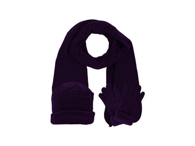 Purple 3 Piece Fleece Hat Scarf & Glove Matching Set