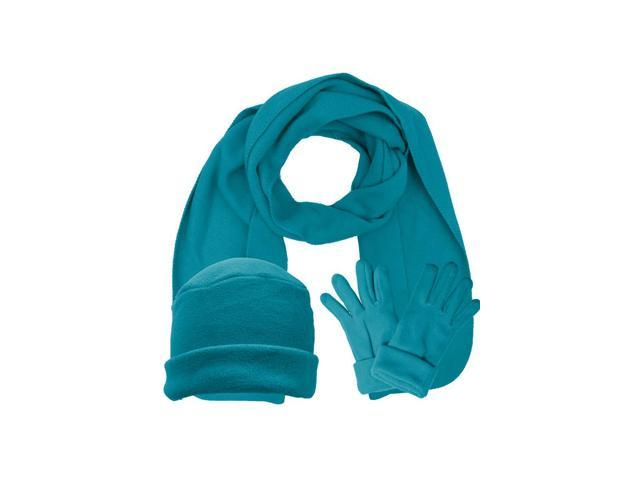 Turquoise 3 Piece Fleece Hat Scarf & Glove Matching Set