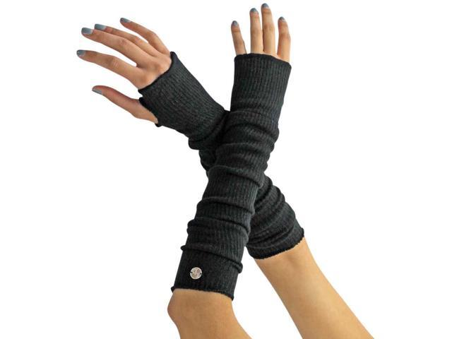 Black Long Arm Warmers With Thumb Hole