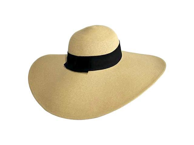 Flat Tan Wide Brim Sun Hat With Black Ribbon Trim