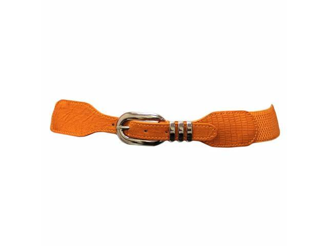 Orange Thin Stretchy Crocodile Textured Waist Belt