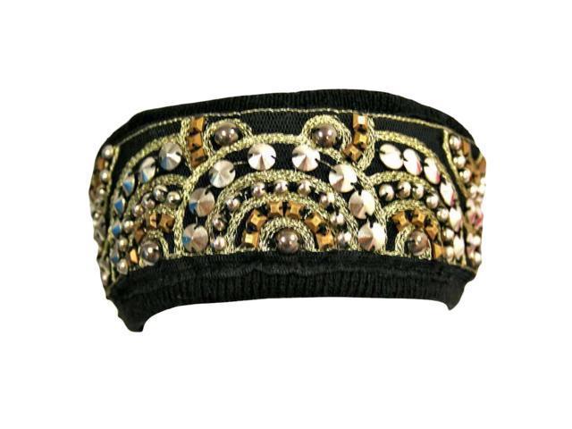 Black Bohemian Style Beaded & Studded Headband