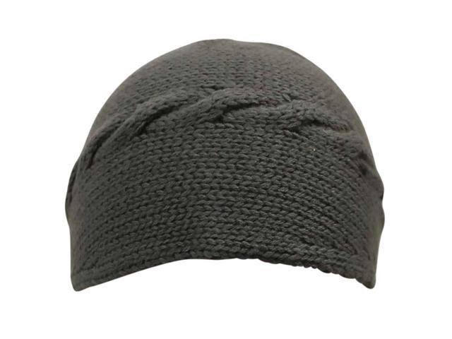 Gray Cable Knit Headband With Button Closure
