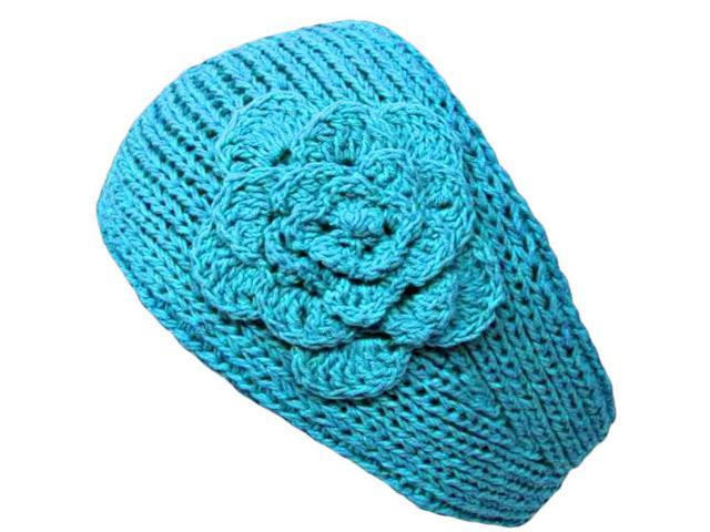 Turquoise Knit Hand Made Headband With Flower Detail