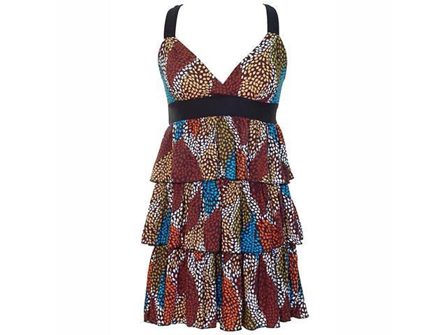 Brown Multicolor X-Back Multi Layered Ruffled Sun Dress