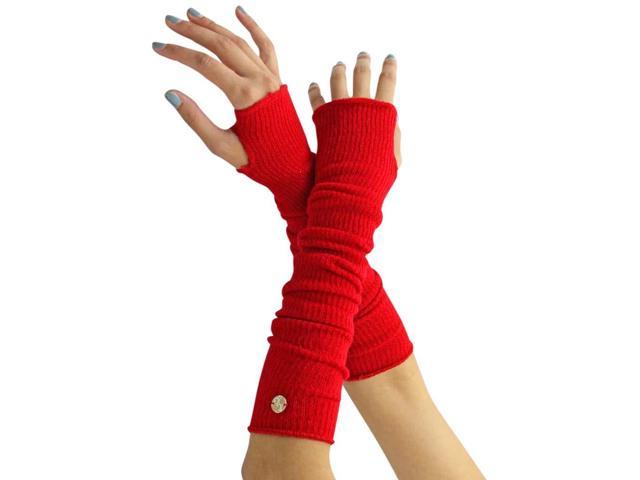 Red Long Arm Warmers With Thumb Hole