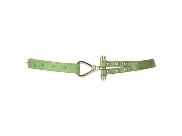 Green Skinny Belt With Gold Tone Anchor Buckle