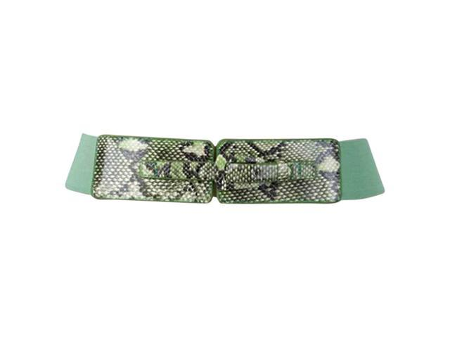 Green & Black Snake Print Buckle Closure Belt