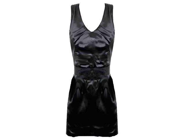Black Simple Satin Dress With Bow Cinch Belt