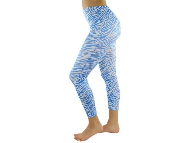 Blue & White Zebra Pattern Capri Style Stretchy Leggings