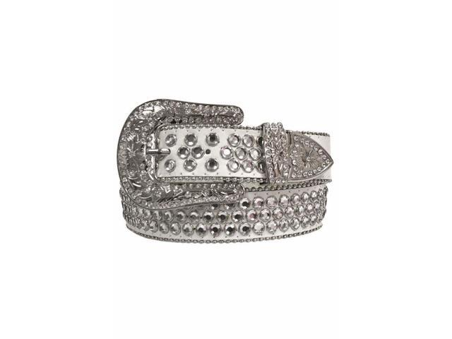 White Rhinestone Studded Belt With Silver Buckle Size X-Large