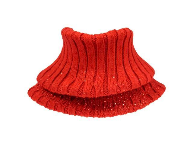 Red Ribbed Knit Neck Warmer With Rhinestones