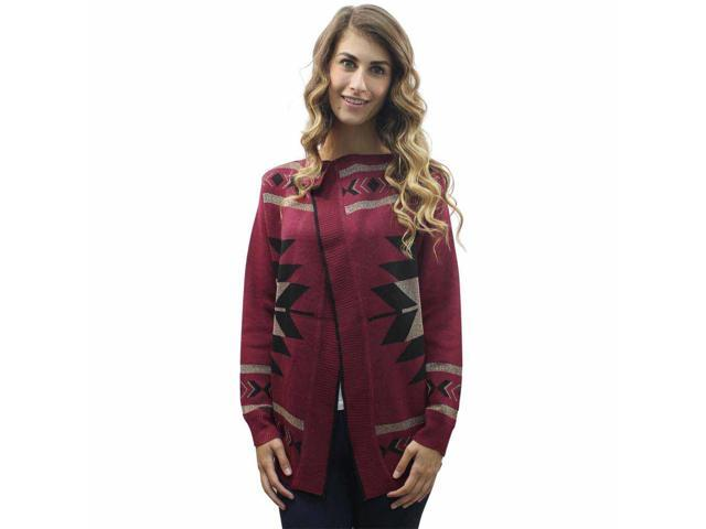 Burgundy Tribal Print Cardigan Sweater Size Medium