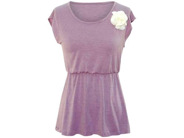 Lavender Short Sleeve Flared Blouse With Flower Size Medium
