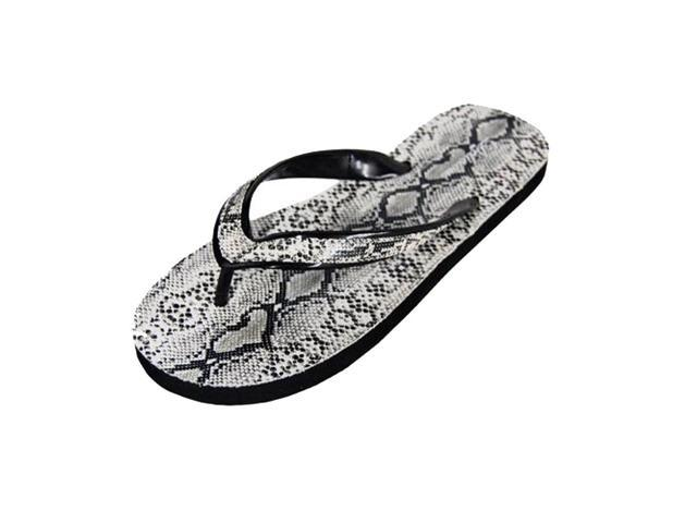 White Faux Snakeskin Flip Flops For Women Size 6.5