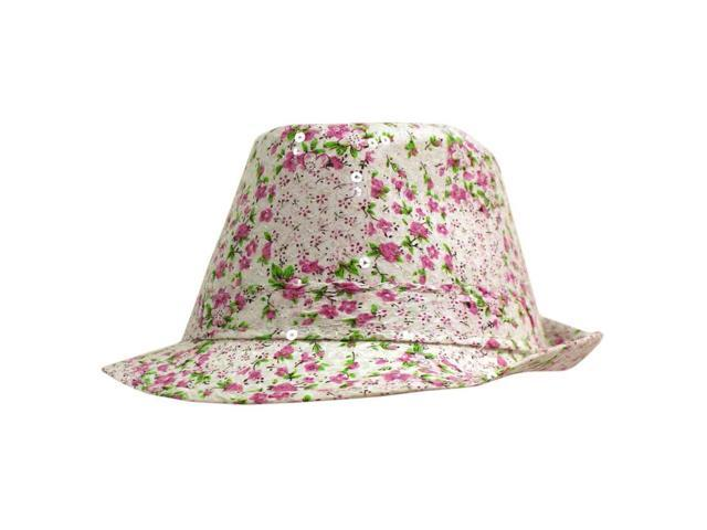 White Pink & Green Sequined Floral Fedora Hat