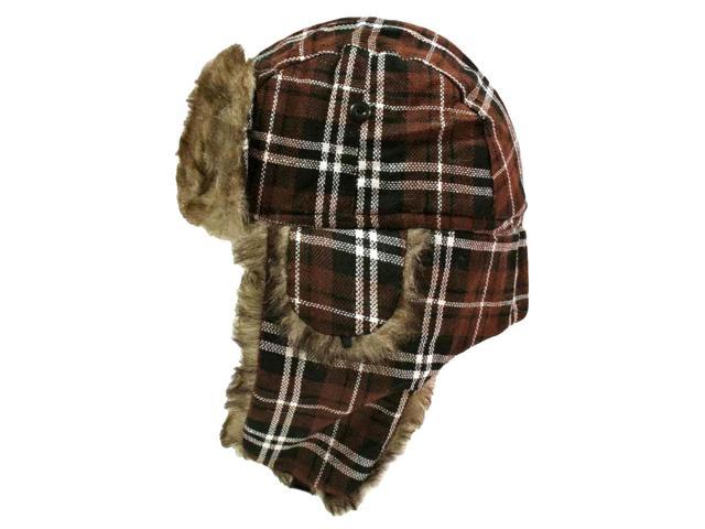 Brown Plaid Faux Fur Lined Trapper Aviator Hat