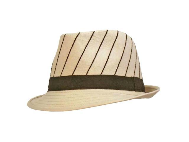 Beige Fedora Hat With Vertical Brown Pinstripes