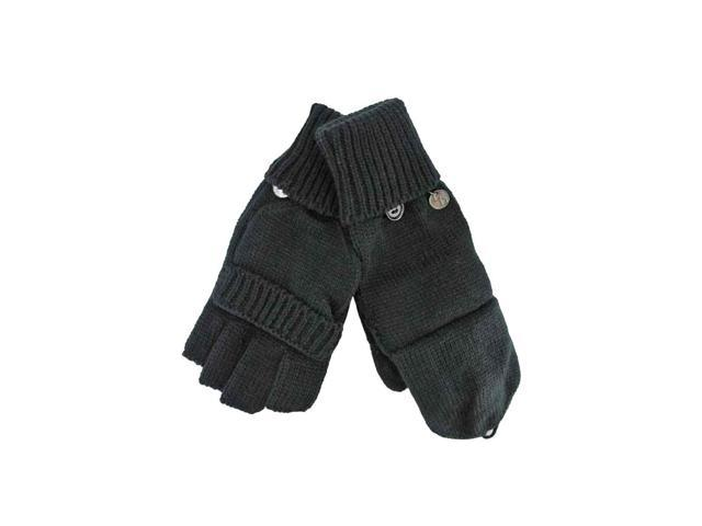 Black Knit Fingerless Gloves With Mitten Cover